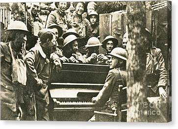Yankee Soldiers Around A Piano Canvas Print