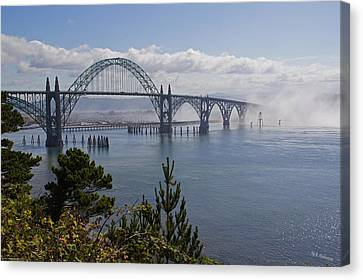 Canvas Print featuring the photograph Yaquina Bay Bridge by Mick Anderson