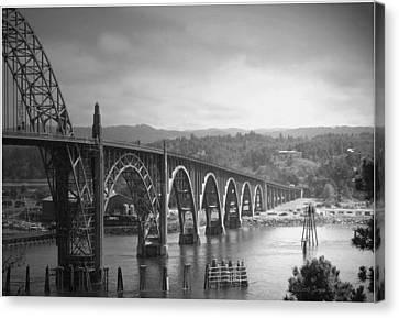 Yaquina Bay Bridge Oregon B And W Canvas Print by Joyce Dickens