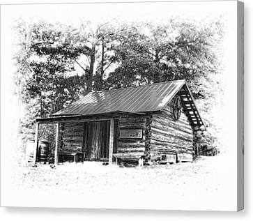 Yates Mill Cabin Black And White Canvas Print by Joe Granita