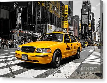 Yellow Cab At The  Times Square Canvas Print by Hannes Cmarits