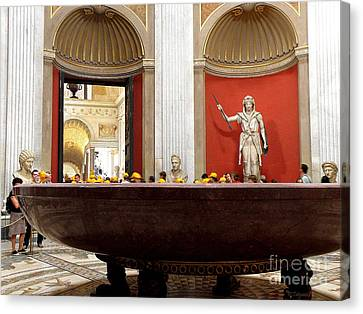 Canvas Print featuring the photograph Yellow Caps In Vatican by Tanya  Searcy