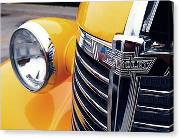 Yellow Chevy Canvas Print by Steven Milner