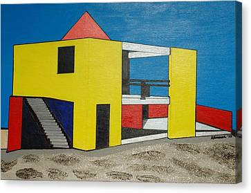 Yellow Contemporary-miami Beach Canvas Print by Robert Handler