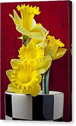 Daffodils Canvas Print - Yellow Daffodils In Checkered Vase by Garry Gay