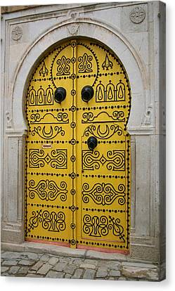 Canvas Print featuring the photograph Yellow Door In Bardo by Laurel Talabere