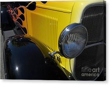 Yellow Flame Vintage Car Canvas Print