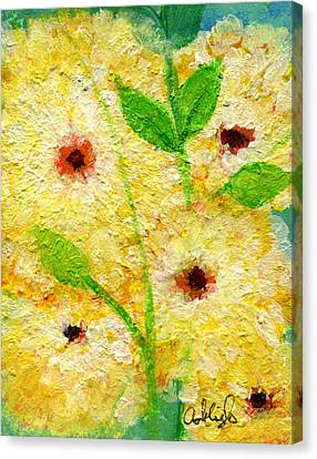 Yellow Flowers Laugh In Joy Canvas Print by Ashleigh Dyan Bayer