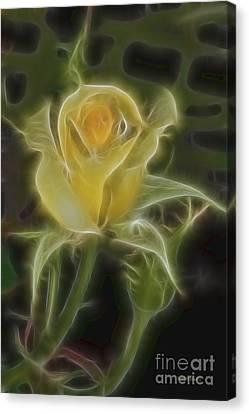 Yellow Fractalius Rose Canvas Print by Deborah Benoit