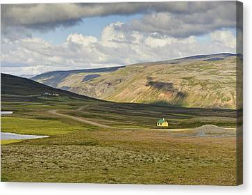 Canvas Print featuring the photograph Yellow House In Iceland Landscape by Marianne Campolongo