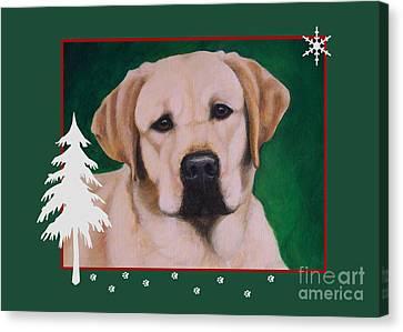 Yellow Labrador Portrait Christmas Canvas Print