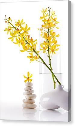 Yellow Orchid Bunchs Canvas Print by Atiketta Sangasaeng