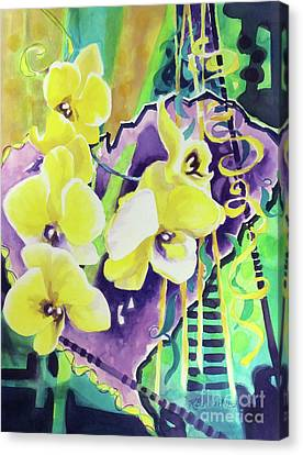 Yellow Orchids Of The Heart Canvas Print by Kathy Braud