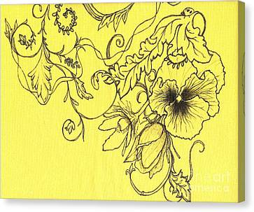 Yellow Pansy And Ladybug Canvas Print by Denise Hoag