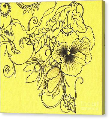 Yellow Pansy Canvas Print by Denise Hoag