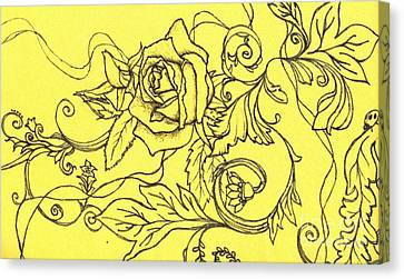 Yellow Rose And Ladybug Canvas Print by Denise Hoag