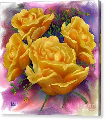 Yellow Roses Floral Art Canvas Print by Judy Filarecki