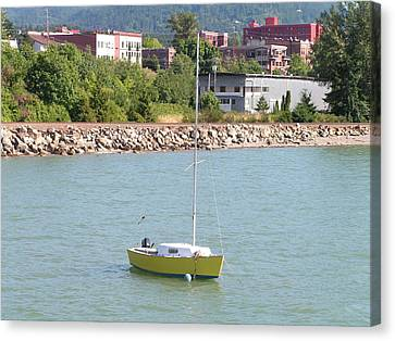Canvas Print featuring the photograph Yellow Sailboat At Bellingham Bay by Rand Swift