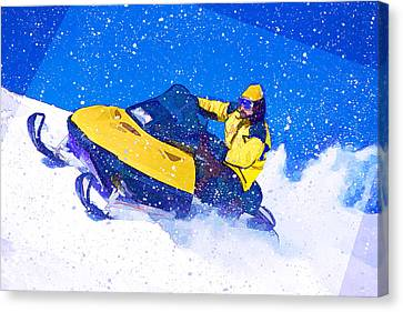 Yellow Snowmobile In Blizzard Canvas Print by Elaine Plesser