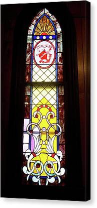 Yellow Stained Glass Window Canvas Print by Thomas Woolworth