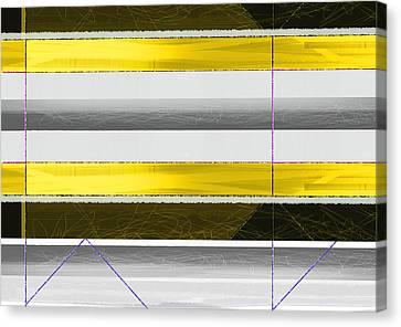 Yellow Stripes Canvas Print by Naxart Studio
