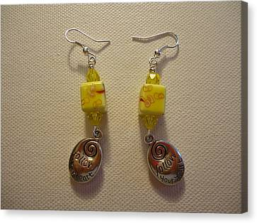 Yellow Swirl Follow Your Heart Earrings Canvas Print by Jenna Green