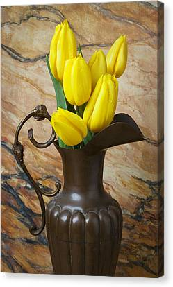 Yellow Tulips In Brass Vase Canvas Print by Garry Gay