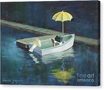 Yellow Umbrella Canvas Print by Claire Gagnon