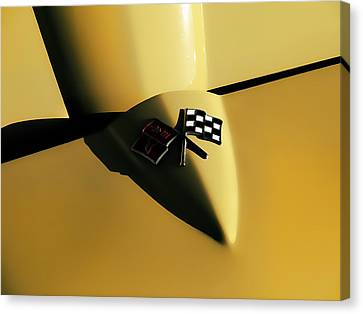 Yellow Vette Badge Canvas Print by Douglas Pittman