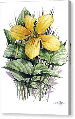 Canvas Print featuring the painting Yellow Violet by Bob  George