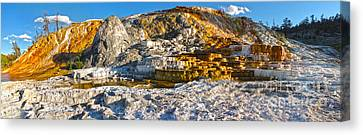 Yellowstone National Park - Mammoth Hot Springs - Panorama Canvas Print by Gregory Dyer