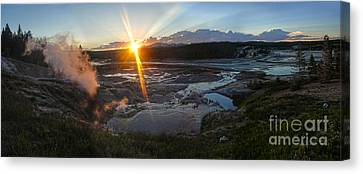 Yellowstone Norris Geyser Basin At Sunset - 02 Canvas Print by Gregory Dyer
