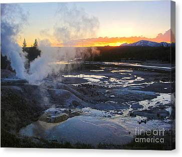 Yellowstone Norris Geyser Basin At Sunset - 03 Canvas Print by Gregory Dyer