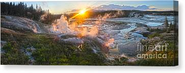 Yellowstone Norris Geyser Basin At Sunset Canvas Print by Gregory Dyer