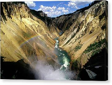 Yellowstone River Over The Falls Canvas Print by John Brink