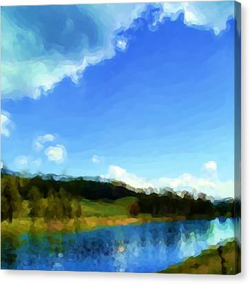 Canvas Print featuring the painting Yellowstone River by Susan Fisher