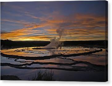 Yellowstone's Fountain Geyser Canvas Print by Geraldine Alexander