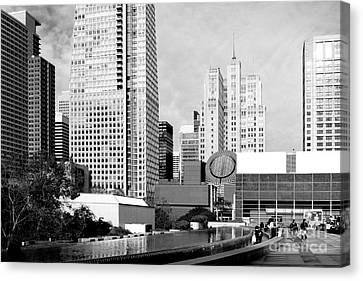 Yerba Buena Garden San Francisco . Black And White Photograph 7d3959 Canvas Print by Wingsdomain Art and Photography