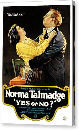 Yes Or No, Norma Talmadge, Lowell Canvas Print by Everett