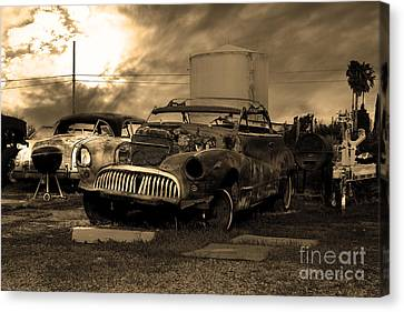 Yesterday Came Early . Tomorrow Is Almost Over 2 . Sepia Canvas Print by Wingsdomain Art and Photography