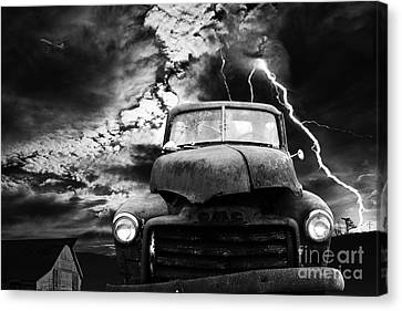 Yesterday Came Early . Tomorrow Is Almost Over . Bw Canvas Print by Wingsdomain Art and Photography
