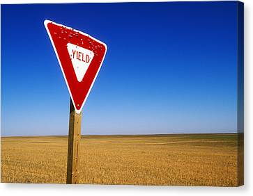 Yield Road Sign With Bullet Holes In It Canvas Print by Wesley Hitt