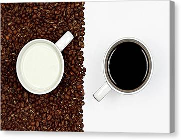 Coffee Beans Canvas Print - Yin And Yang Coffee And Milk by Gert Lavsen Photography