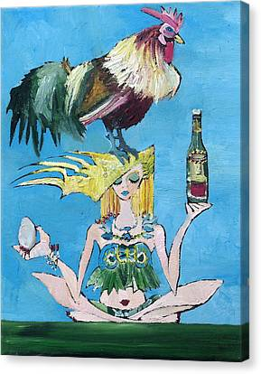 Yoga Girl With Cock - Bottle Of Wine And Egg Canvas Print