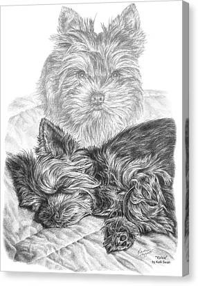 Canvas Print featuring the drawing Yorkie - Yorkshire Terrier Dog Print by Kelli Swan
