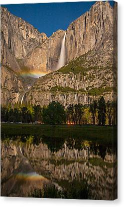 Yosemite Falls Moonbow Reflection Canvas Print by Marc Crumpler