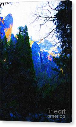Yosemite Snow Mountain Tops . Vertical Cut Canvas Print by Wingsdomain Art and Photography