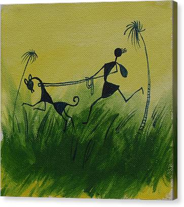 You En I In This Beautiful World Canvas Print by Chintaman Rudra