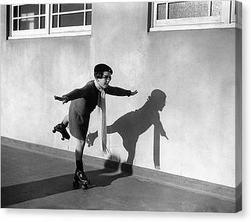 Young Girl (7-9) On Rollerskates (b&w) Canvas Print by Hulton Archive