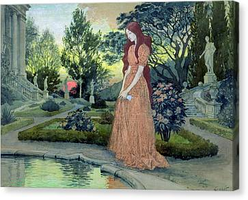 Young Girl In A Garden  Canvas Print by Eugene Grasset